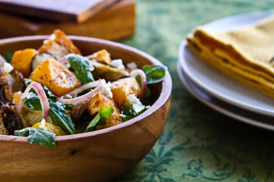 Spanish influenced Roasted Butternut Squash Panzanella Salad with Sherry Vinaigrette  bursts with flavor using this one simple technique.