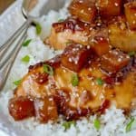 This easy, baked Sweet and Tangy Tahitian Chicken,goes together in a flash for an easy 45 minute oven to table meal!