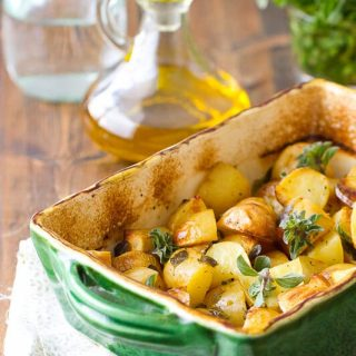 This Lemon and Oregano Potatoes recipe bakes up an incredibly easy and flavorful side dish that goes with anything. Read on for the secret technique!