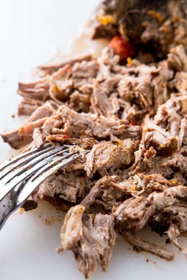 shredded pork for Tex mex slow cooker tostadas